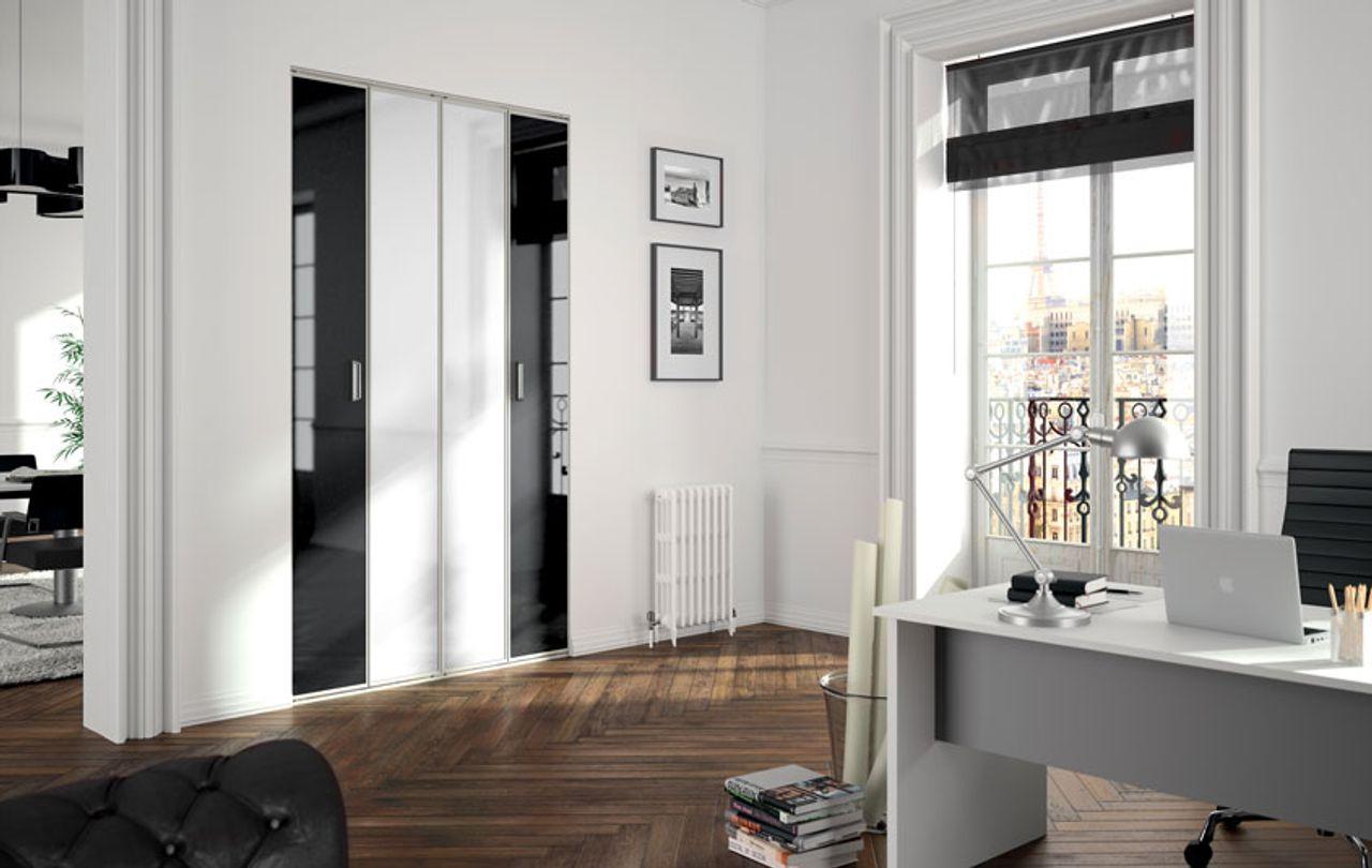 portes de placard univers noir blanc kazed. Black Bedroom Furniture Sets. Home Design Ideas
