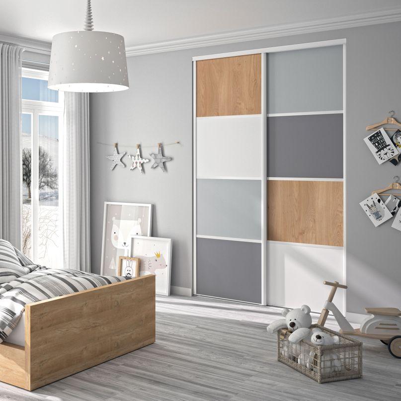 Façade de placard coulissante 2 portes décor gris galet, décor gris intense, décor chêne naturel, décor blanc mat