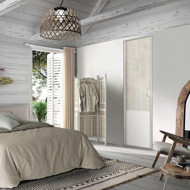 Façade de placard pivotante 1 porte décor bois flotté crème, décor ...