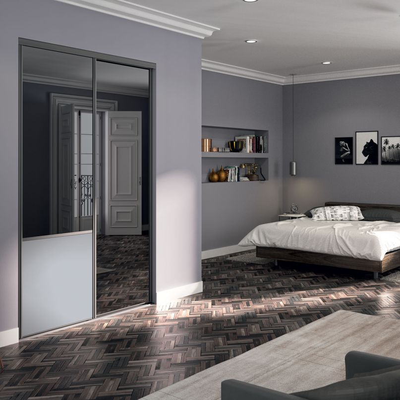 Façade de placard coulissante 2 portes miroir plomb, décor gris galet
