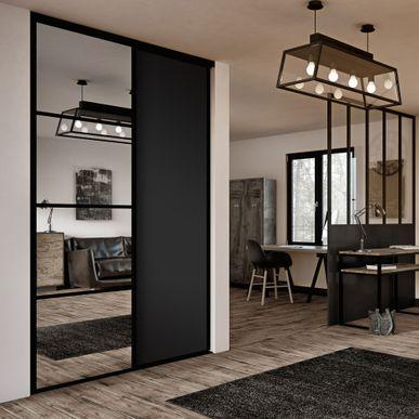façade de placard coulissante 2 portes miroir argent, décor noir