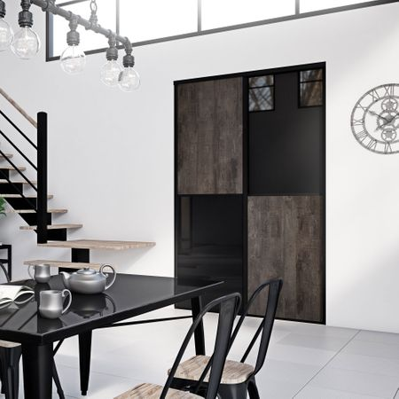 fa ade de placard coulissante 2 portes d cor b ton cuivr. Black Bedroom Furniture Sets. Home Design Ideas