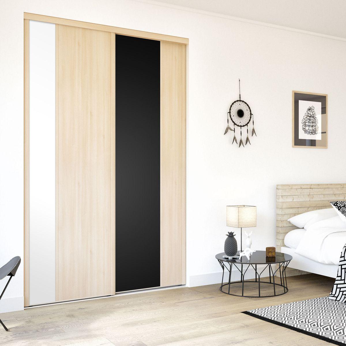 Façade de placard coulissante 2 portes décor acacia clair, décor blanc mat, décor noir intense