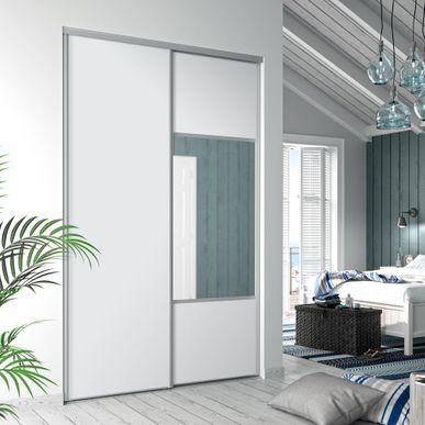 fa ade de placard coulissante 2 portes d cor blanc mat. Black Bedroom Furniture Sets. Home Design Ideas