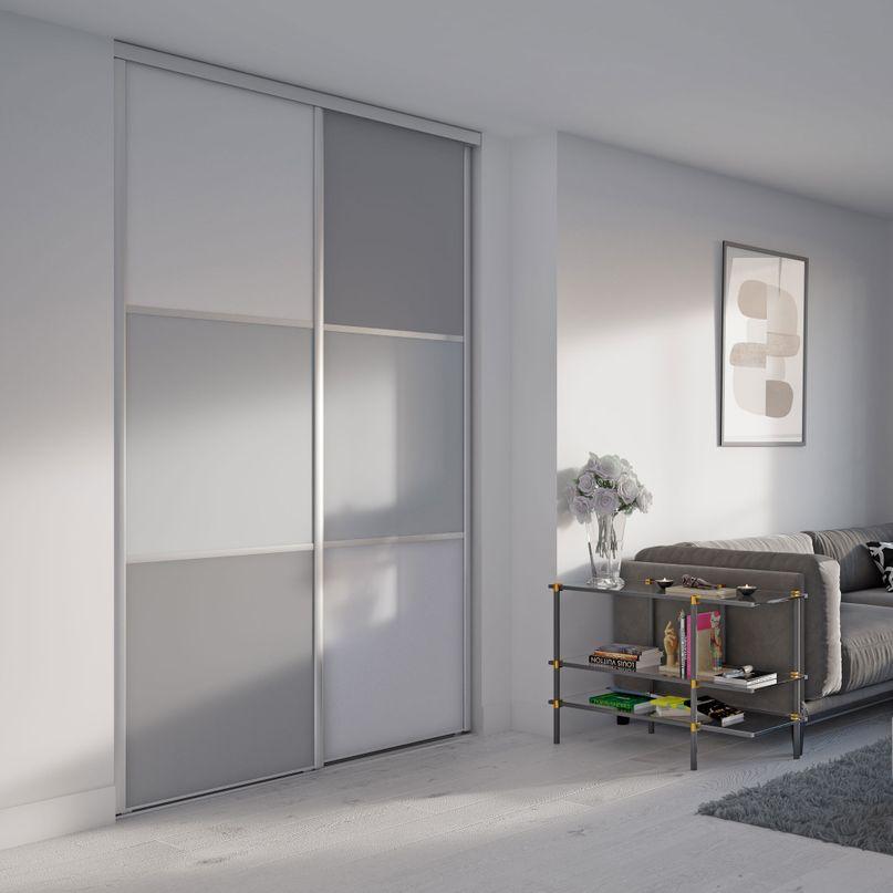 Façade de placard coulissante 2 portes décor blanc mat, décor gris galet, décor gris intense