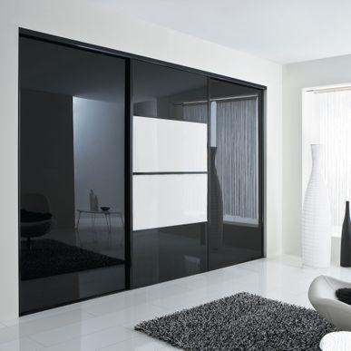 façade de placard coulissante 3 portes verre laqué noir, verre laqué