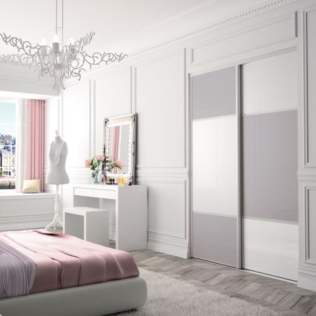 fa ade de placard pivotante 2 portes verre laqu gris. Black Bedroom Furniture Sets. Home Design Ideas