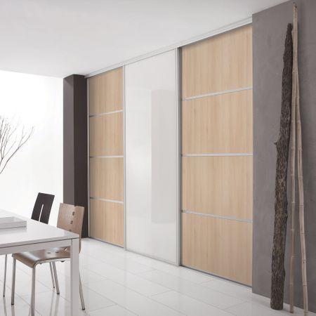 fa ade de placard coulissante 3 portes d cor ch ne blond d cor blanc mat kazed. Black Bedroom Furniture Sets. Home Design Ideas